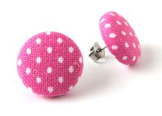 Pink white polka dot stud earrings button summer  bright happy pin up