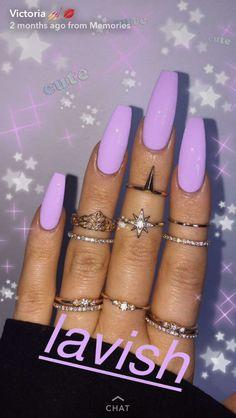 fσя мσяє ρσρριи - Nails Tip Purple Acrylic Nails, Lilac Nails, Square Acrylic Nails, Best Acrylic Nails, Square Nails, Acrylic Nail Designs, Gel Nail Art, Nail Polish, Purple Nails With Glitter