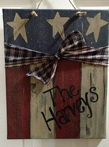 Patriotic Handpainted Canvas by BearandCompany on Etsy Star Painting, Easy Canvas Painting, Spring Painting, Acrylic Paintings, Fourth Of July Decor, 4th Of July Decorations, July 4th, Patriotic Crafts, July Crafts