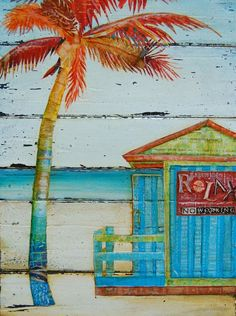 palm tree collage | Relax...No Working - Beach Shack and Palm Tree- Original Mixed Media ...