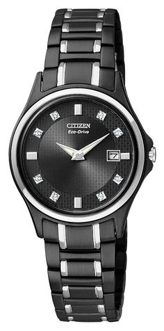 (CLICK IMAGE TWICE FOR UPDATED  Citizen GA1034-57G Women's Black Ion Plated Eco-Drive Diamond Watch