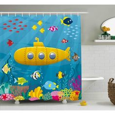 Zoomie Kids Felecia Yellow Submarine Coral Reef With Colorful Fish Ocean Life Marine Creatures Tropic Kid Shower Curtain Size: W x H Submarine Drawing, Festa Yellow Submarine, Submarine Craft, Submarine Quotes, Submarine Movie, Submarine Sandwich, Midget Submarine, Nuclear Submarine, Drawing For Kids