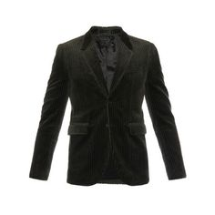Burberry Prorsum Long-sleeved corduroy blazer (€700) ❤ liked on Polyvore featuring men's fashion, men's clothing, men's sportcoats and charcoal