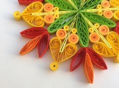 Snowflake Yellow Orange Green Red Christmas Tree Decoration Winter Ornaments Gifts Topper Filler Office Corporate Paper Quilling Quilled Art