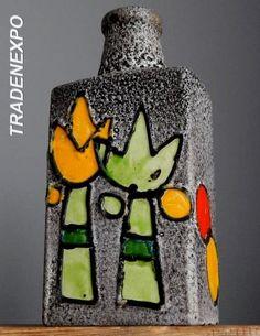 RETRO Tall 11''Vintage 60-70s SCHEURICH KERAMIK 281 Fat Lava Vase German Pottery