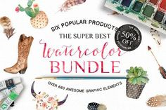 50% Off • Watercolor Bundle by Graphic Box on @creativemarket