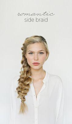 Romantic Side Braid Hair Tutorial via oncewed.com