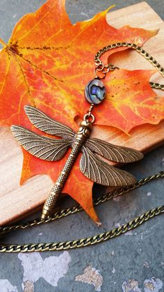 Autumn Abalone Brass Dragonfly 26 Necklace by bymichelemohr
