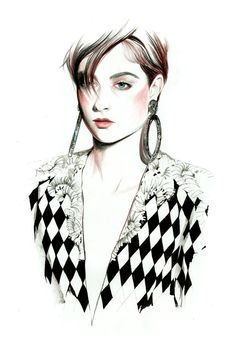 Bo Don for Balmain spring 2013 illustration by Caroline Andrieu