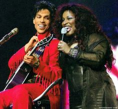 Prince and Chaka Kahn..i am so happy i got to see these two in concert...both are my favorite musical artists..both sing like they're dring a cool glass of water....cyn