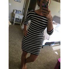 Express Long Sleeved Dress Express Long Sleeved Dress. Black and white striped. Great condition. Express Dresses Long Sleeve