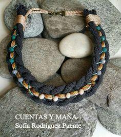 Gargantilla cordones trenzados y cuentas facetadas #cuentasymaña #handmade #collares #madewithlove #trenzas #gargantilla #jewelry