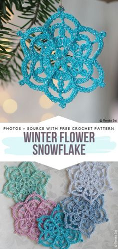 Magical Snowflakes - Ideas and Free Crochet Patterns Crochet Garland, Crochet Ornaments, Snowflake Ornaments, Handmade Ornaments, Glitter Ornaments, Handmade Cards, Free Crochet Snowflake Patterns, Christmas Crochet Patterns, Crochet Snowflakes