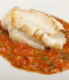A meaty fish like monkfish demands a bold sauce, and in this monkfish recipe by Shaun Hill, that demand is met by a fragrant tomato, ginger and garlic sauce, infused with a nice selection of herbs. Seafood Recipes, Cooking Recipes, Healthy Recipes, Savoury Recipes, Cooking Videos, Meal Recipes, Drink Recipes, Chicken Recipes, Pisces