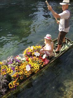 Floating market in L'Isle sur la Sorgue, Provence France
