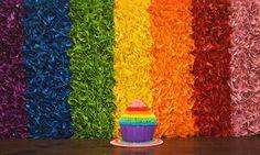 Rainbow tissue paper backdrop