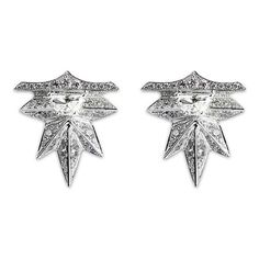 Melville Fine Jewellery 'Eastern Light' diamond 18k white gold spike... ($12,235) ❤ liked on Polyvore featuring jewelry, earrings, metallic, white gold jewellery, 18 karat gold jewelry, 18 karat gold earrings, spike earring and diamond jewelry