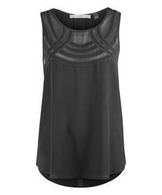 Look what I found on #zulily! Black Sheer-Yoke Split-Back Sleeveless Top #zulilyfinds