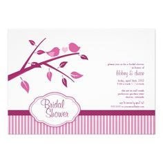 Hot Pink Love Birds Bridal Shower Announcements