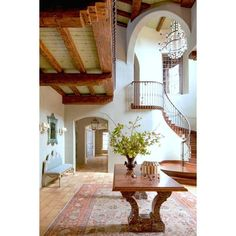 Spanish Colonial | Modern Interior | Historic Architecture | Home... ❤ liked on Polyvore featuring home and furniture