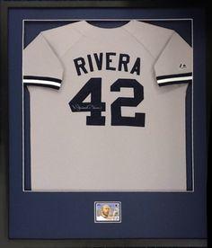 Framed Rivera Baseball Jersey with blue matting at Art & Frame Express in Edison, NJ.