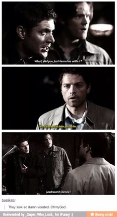 They look so violated and offended omg! And Castiel is just like guys i saved you, shouldn't you thank me?? - Supernatural