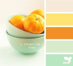 Tangerine hues. Pale mint walls with ivories, creams, and warm colored accents.