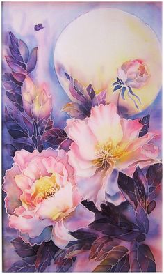 Items similar to Original Silk Painting -SOLD - copy Possible - Peony - Painting on Silk - Flower Painting on Etsy Peony Painting, Fabric Painting, Watercolor And Ink, Watercolor Flowers, Batik Art, Silk Art, Pictures To Paint, Your Paintings, Flower Art