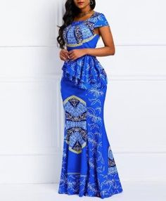 Material: Twilled Satin Silhouette: Mermaid Dress Length: Floor-Length Sleeve Length: Cap Sleeve Neckline: Square Neck Combination Type: Single Waist Line: High-Waist Closure: Pullover Elasticity: High Elasticity Detachable Collar: No With Belt: No Patter Latest African Fashion Dresses, African Dresses For Women, African Print Dresses, African Print Fashion, African Attire, African Women, African Traditional Dresses, Cap Dress, Casual Dresses