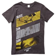 Boys' Short Sleeve Skate Sun Surf Print T-Shirt
