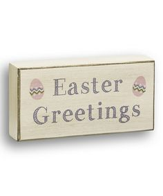 'Easter Greetings' Box Sign #zulily #zulilyfinds