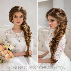 Image may contain: 3 people Wedding Hairstyles For Long Hair, Braids For Long Hair, Formal Hairstyles, Bride Hairstyles, Side Braid Hairstyles, Pagent Hair, Prom Hair, Bridal Makeup, Bridal Hair