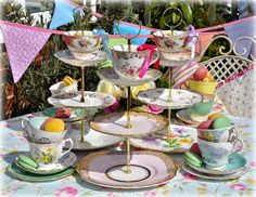 Unique mismatched vintage tea cup top three-tiered cake stands