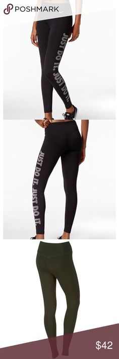 """NWT 🖤 Nike Womens Dry Training JUST DO IT Leggins 🖤 BRAND NEW WITH TAGS 🖤 Combine style and function with these women's Nike tights.  PRODUCT FEATURES Elastic waistband Waistband is tilted up in back for enhanced coverage Triangle-shaped gusset allows for a full range of motion Dri-FIT moisture-wicking technology keeps you dry Flat seams feel smooth against your skin """"Just do it"""" graphic print FIT & SIZING 28-in. approx. inseam Tight fit hugs your body for a locked-in feel FABRIC & CARE…"""