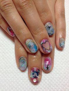 Pink and blue Nail decor