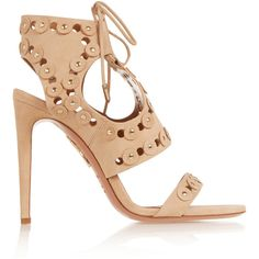 Aquazzura Rebel Studs cutout suede sandals (305 BHD) ❤ liked on Polyvore featuring shoes, sandals, heels, beige, tie sandals, beige suede shoes, high heel shoes, suede sandals and studded shoes
