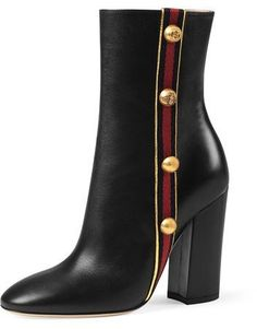 Gucci Carly Mid-Calf Globe Bootie, Black