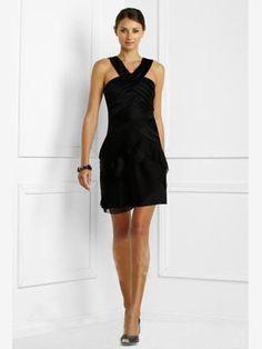 Discount Original Black Satin Ruffled Column With Straps Little Dress(LBDT-005) For Sale, Enjoy 50% OFF, Buy Discount Little Black Dresses at wholesale prices.