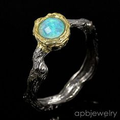 Handmade Fine Art Natural Blue Opal 925 Sterling Silver Ring Size 9.75/R34276 #APBJewelry #Ring