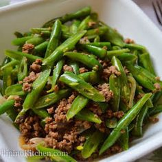 Sautéed Green Beans with Ground Beef (Filipino-Style Ginisang Baguio Beans) with Green Beans, Lean Ground Beef, Onion, Garlic, Less Sodium Soy Sauce, Salt, Ground Pepper, Water.