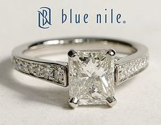 Cathedral Pavé Radiant Cut Diamond Engagement Ring in Platinum #BlueNile. Very, very pretty.
