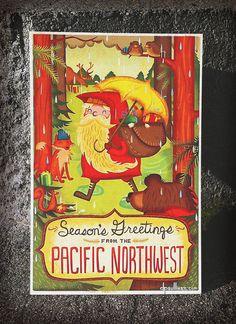 seattle seasons postcard