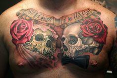 Til Death Do Us Part Skulls and Roses Tattoo Cool Chest Tattoos, Chest Piece Tattoos, Pieces Tattoo, Rose Tattoos For Men, Love Tattoos, Tattoos For Guys, Tattoos For Women, Skull Tattoo Design, Skull Tattoos