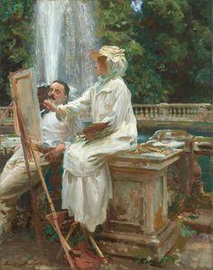 """The Fountain, Villa Torlonia, Frascati, Italy,"" John Singer Sargent, oil on canvas, 28 1/8 x 22 1/4"", Art Institute Chicago."