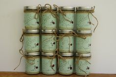 Distressed mason jars, Ladybug decor, bathroom decor, Mason jar decor, Painted…