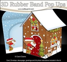 3D Rubber Band Pop Up Christmas Card - Bobbin Robin Has A Letter For Santa At The Christmas Gingerbread House