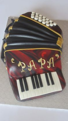 My daddy used to play the accordian sometimes. This Accordion Cake is beautiful. Music Themed Cakes, Music Cakes, Unique Cakes, Creative Cakes, Beautiful Cakes, Amazing Cakes, Fondant Cakes, Cupcake Cakes, Cake Pictures