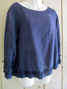 Bryn Walker garment dyed linen flirty top M #BrynWalker #artsybohofunkylagenlooksimple