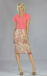 """""""Chiffon Print"""" Modest Skirt in Coral Floral *BACK IN STOCK*"""
