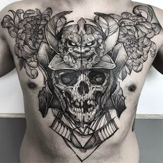 Skull tattoo designs have a variety of different meanings; the most common symbolic interpretation of a skull is the image of death and mortality. Skull Tattoo Design, Skull Tattoos, Tattoo Designs Men, Black Tattoos, Wing Tattoos, Chest Piece Tattoos, Chest Tattoo, Tattoo Studio, Tattoo Japonais